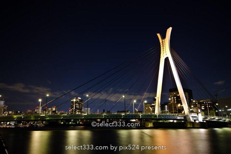 中央大橋の夜景撮影!隅田川に架かる美しい橋梁の東京水辺風景!隅田川の撮影地