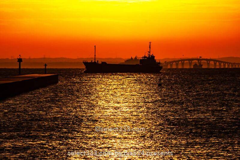 東扇島東公園かわさきの浜の朝日撮影!東京湾岸日の出スポット!アクアラインが見える地