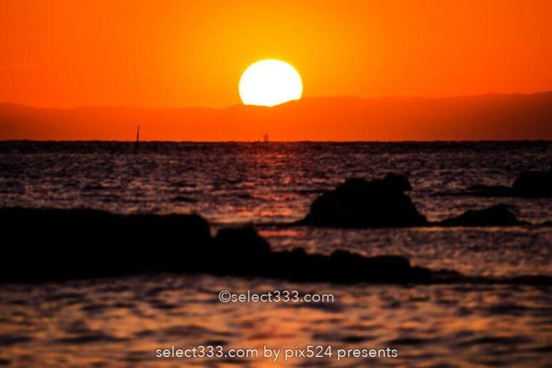 竜島海岸の夕日・夕焼け撮影!富士山が見える勝山の美しい海岸!夕焼け・薄明と星空撮影