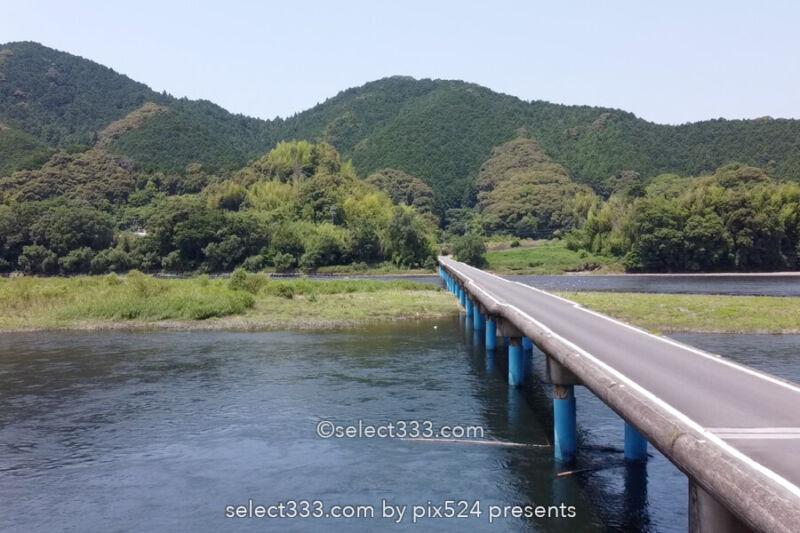 四万十川の最長沈下橋の佐田沈下橋と三本橋脚の勝間沈下橋の風景!四万十川の河川風景