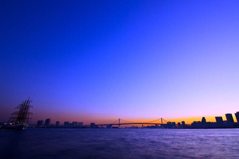 豊海埠頭の夕景・夜景の撮影!レインボーブリッジと東京湾の眺望!東京の水辺撮影地
