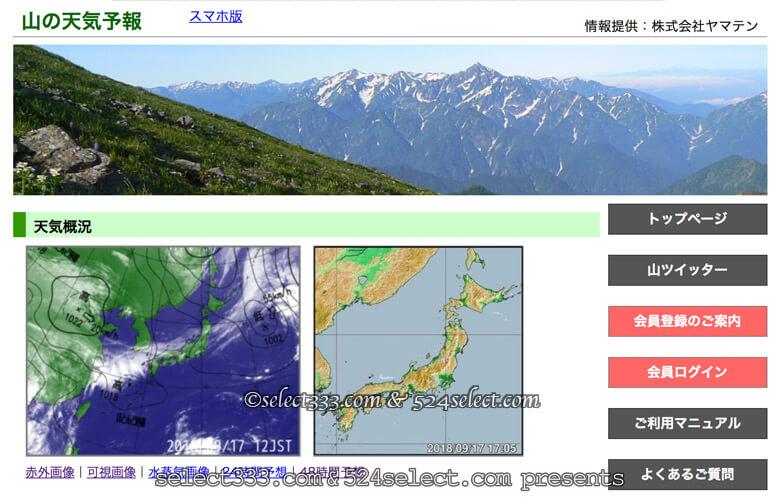 山間部での撮影は山専用の天気予報で!登山用天気予報で撮影計画!撮影地に見合った天気を
