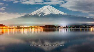 河口湖で夜の富士山を撮ろう!河口湖の夜景や星空と富士山は?冠雪した富士山を狙う!